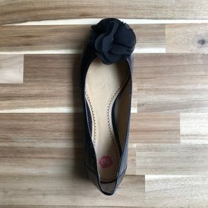 bp Shoes - Black BP Flats with Flower Toe Size 10